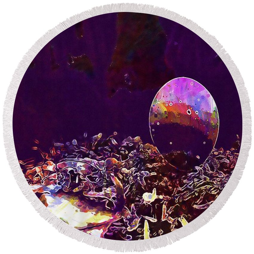 Egg Round Beach Towel featuring the digital art Egg Blue Birds Forest Spring by PixBreak Art