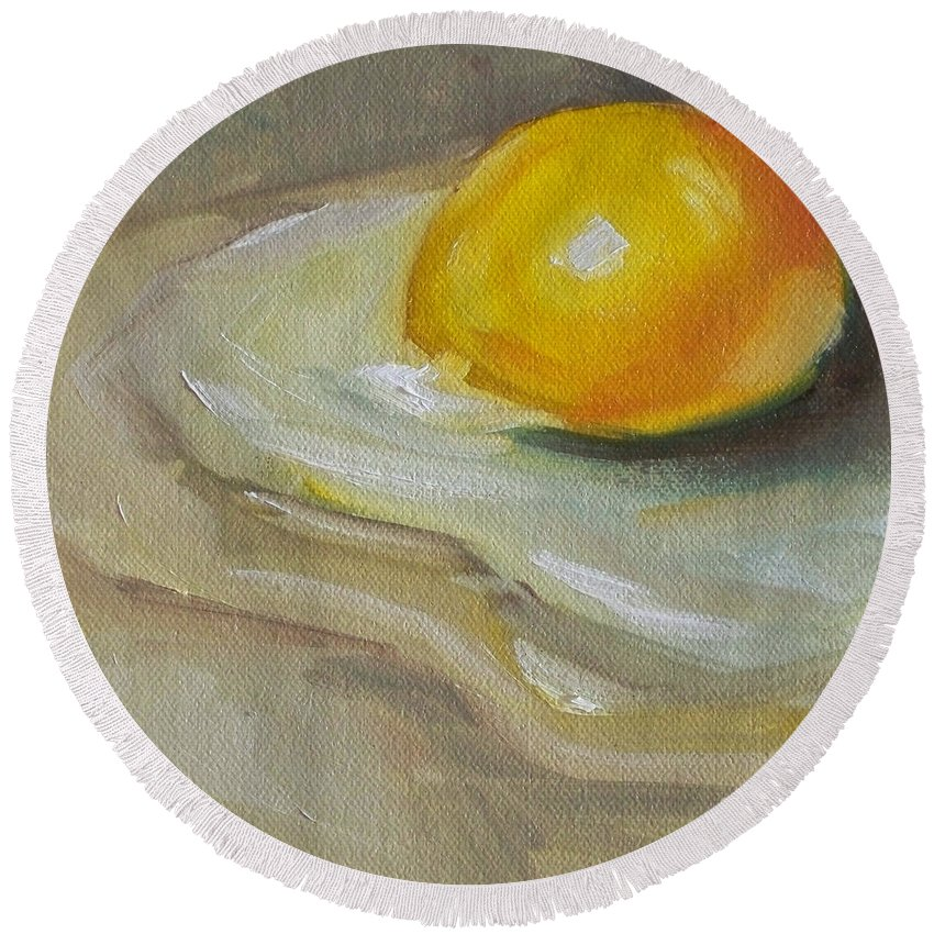 Egg Round Beach Towel featuring the painting Egg Yolk No. 1 by Kristine Kainer
