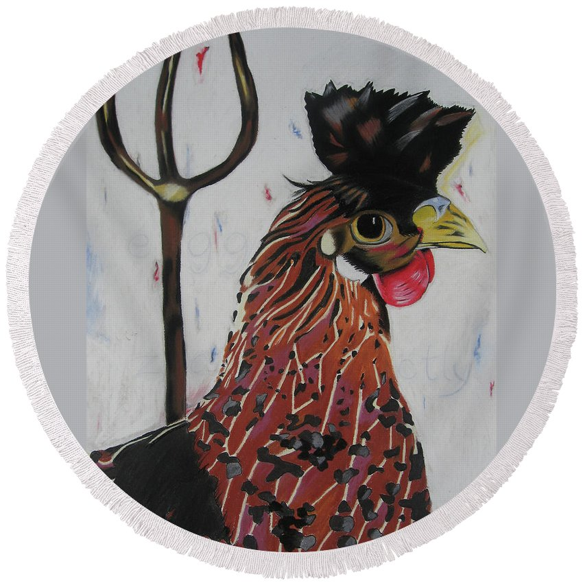 Rooster Painting Round Beach Towel featuring the pastel Egg Zactly by Michelle Hayden-Marsan