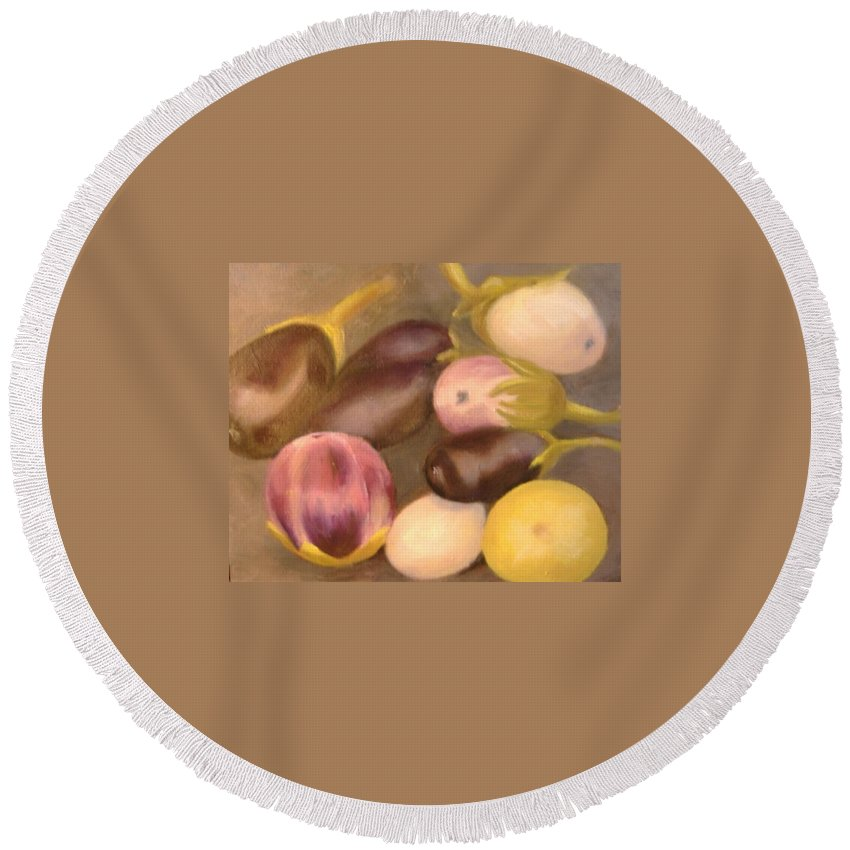 Vegestables Round Beach Towel featuring the painting Eggplant by Pat Snook