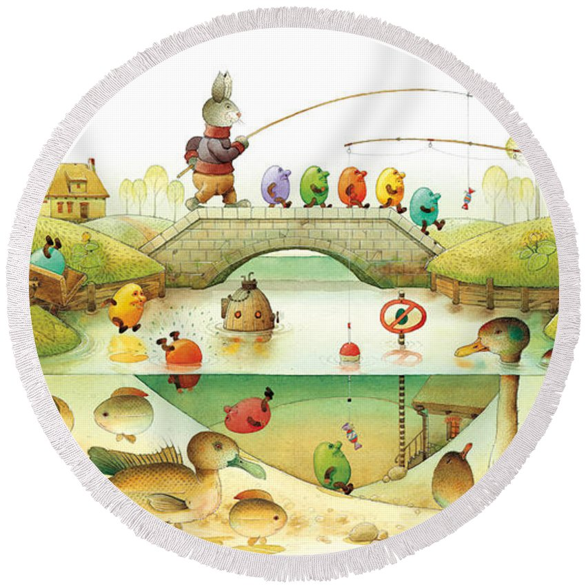 Eggs Easter Rabbit Round Beach Towel featuring the painting Eggstown by Kestutis Kasparavicius