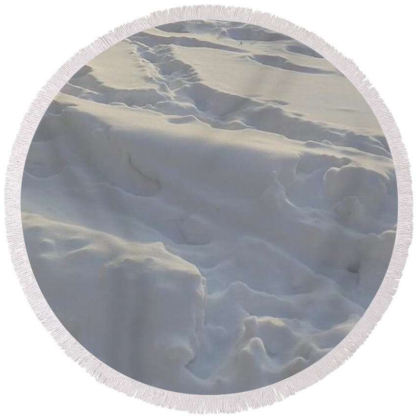 Helsinki Round Beach Towel featuring the photograph Eggwhite Snow by Margaret Brooks