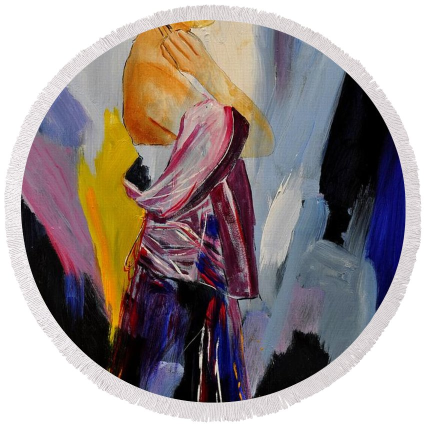 Girl Round Beach Towel featuring the painting Eglantine 570150 by Pol Ledent