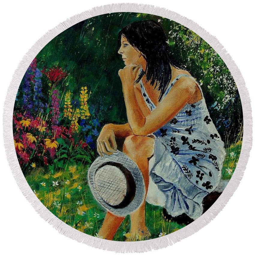 Girl Round Beach Towel featuring the painting Eglantine 679001 by Pol Ledent