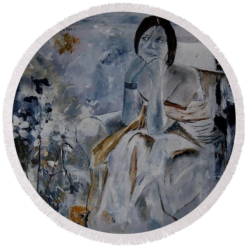 Girl Round Beach Towel featuring the painting Eglantine 679011 by Pol Ledent