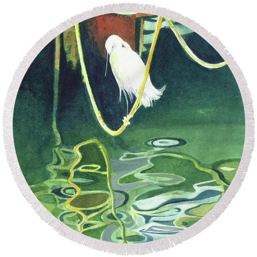 Tropical Round Beach Towel featuring the painting Egret On A Rope by Marie Garafano
