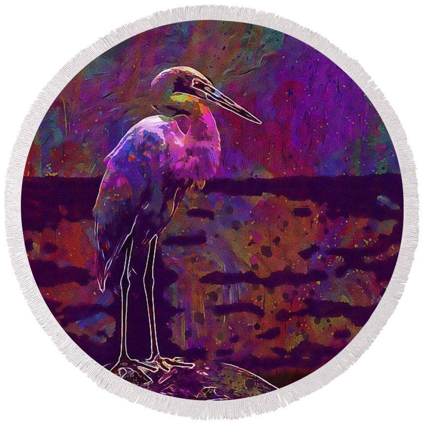 Egret Round Beach Towel featuring the digital art Egret White Bird Beach Wildlife by PixBreak Art