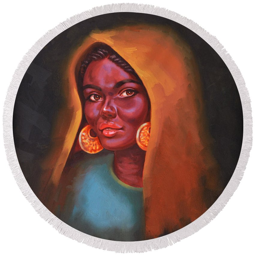 Woman Round Beach Towel featuring the painting Egyptian Beauty by Ahmed Bayomi