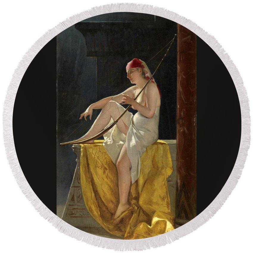 Luis Ricardo Falero Round Beach Towel featuring the painting Egyptian Woman With Harp by Luis Ricardo Falero