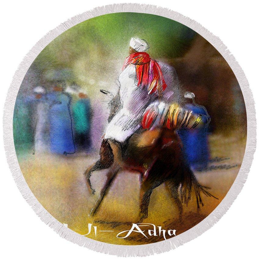 Eid Ul Adha Sheep Painting Festival Of Sacrifice Horses Knight Round Beach Towel featuring the painting Eid Ul Adha Festivities by Miki De Goodaboom