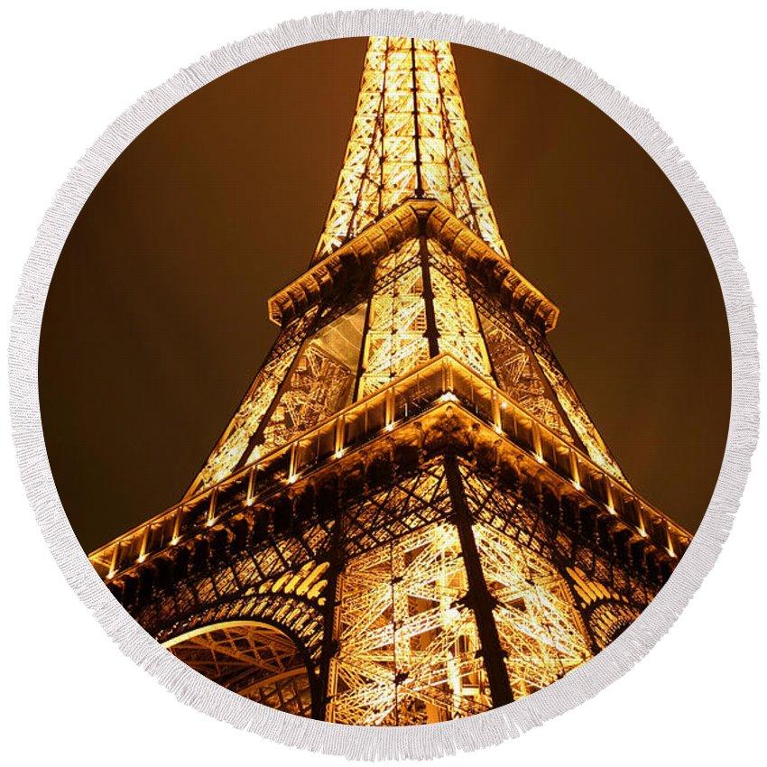 Eiffel Round Beach Towel featuring the photograph Eiffel by Skip Hunt