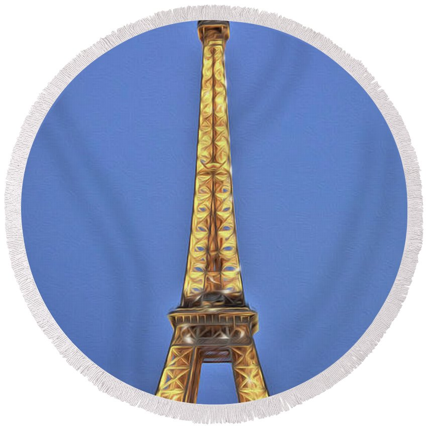 Paris Round Beach Towel featuring the photograph Eiffel Tower 17 Art by Alex Art and Photo