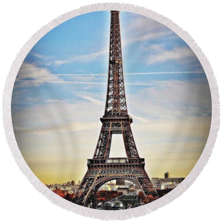 Eiffel Tower Round Beach Towel featuring the photograph Eiffel Tower 2 by Mark D Johnson