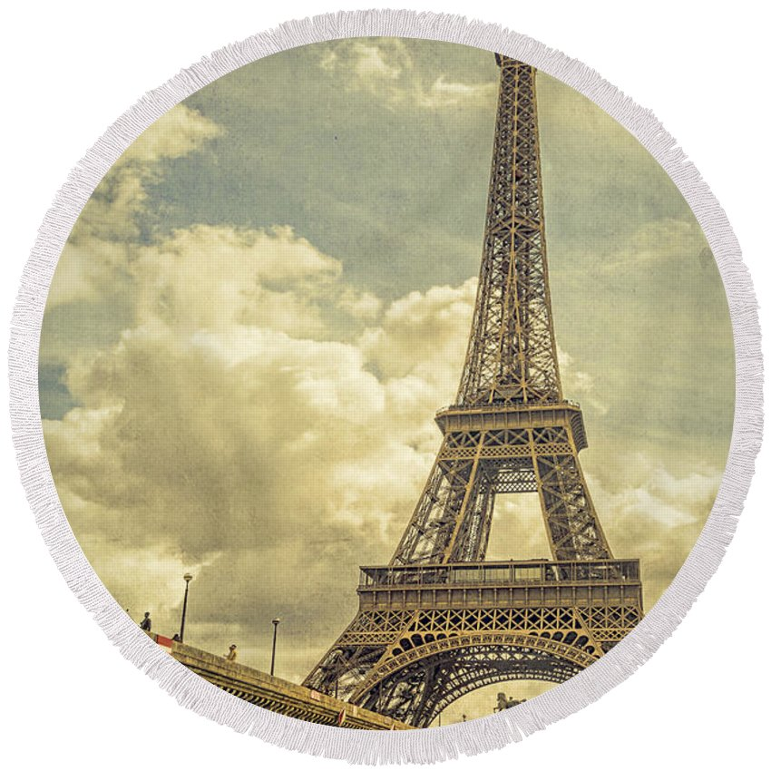 Joan Carroll Round Beach Towel featuring the photograph Eiffel Tower And Pont D'lena Vintage by Joan Carroll