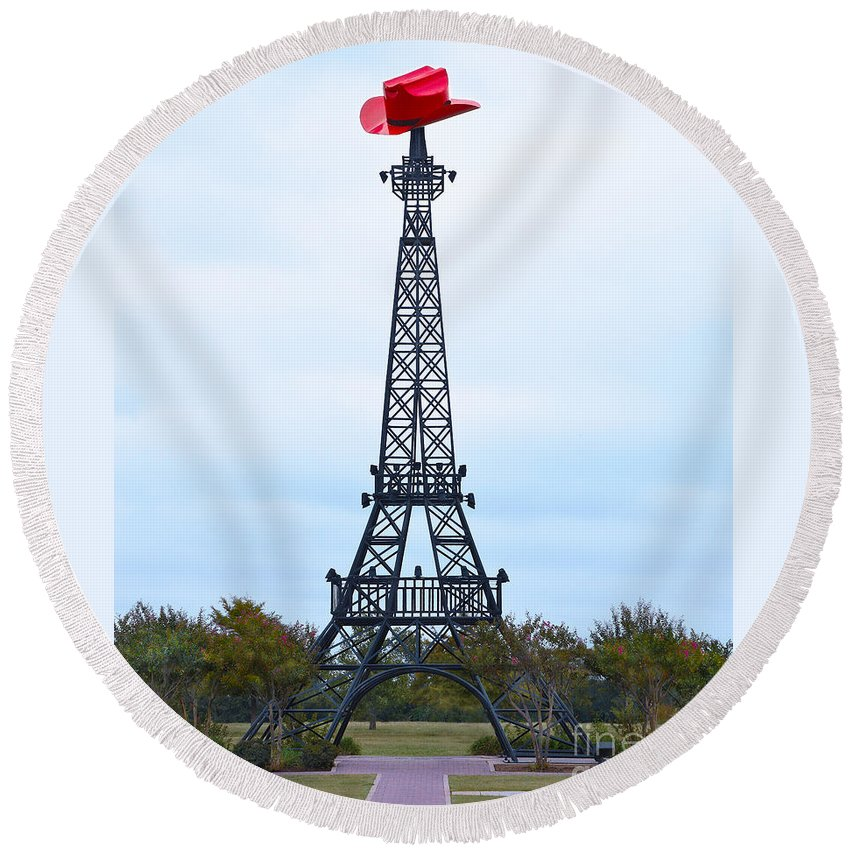 Paris Round Beach Towel featuring the photograph Eiffel Tower In Paris Texas by Catherine Sherman