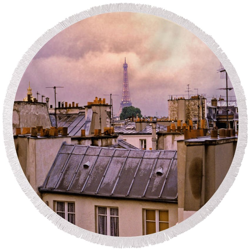 Eiffel Round Beach Towel featuring the photograph Eiffel Tower by Madeline Ellis