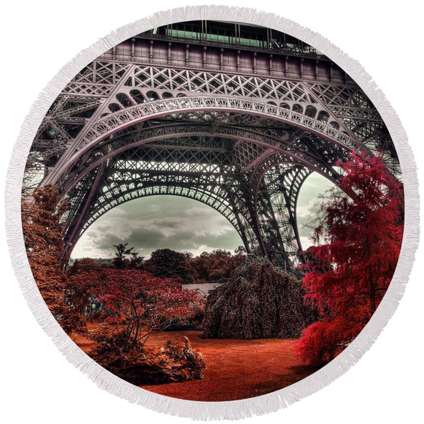 Red Round Beach Towel featuring the photograph Eiffel Tower Surreal Photo Red Trees Paris France by Sandra Rugina