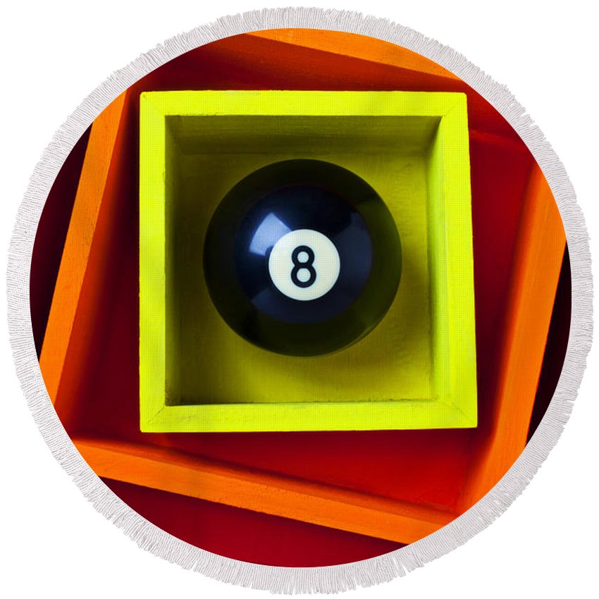 Pool Round Beach Towel featuring the photograph Eight Ball In Box by Garry Gay