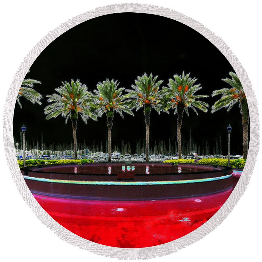 Art Round Beach Towel featuring the painting Eight Palms Drinking Wine by David Lee Thompson