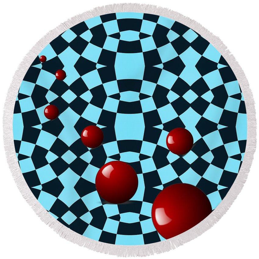 Circle Round Beach Towel featuring the digital art Eight Red Balls by Sarah Loft