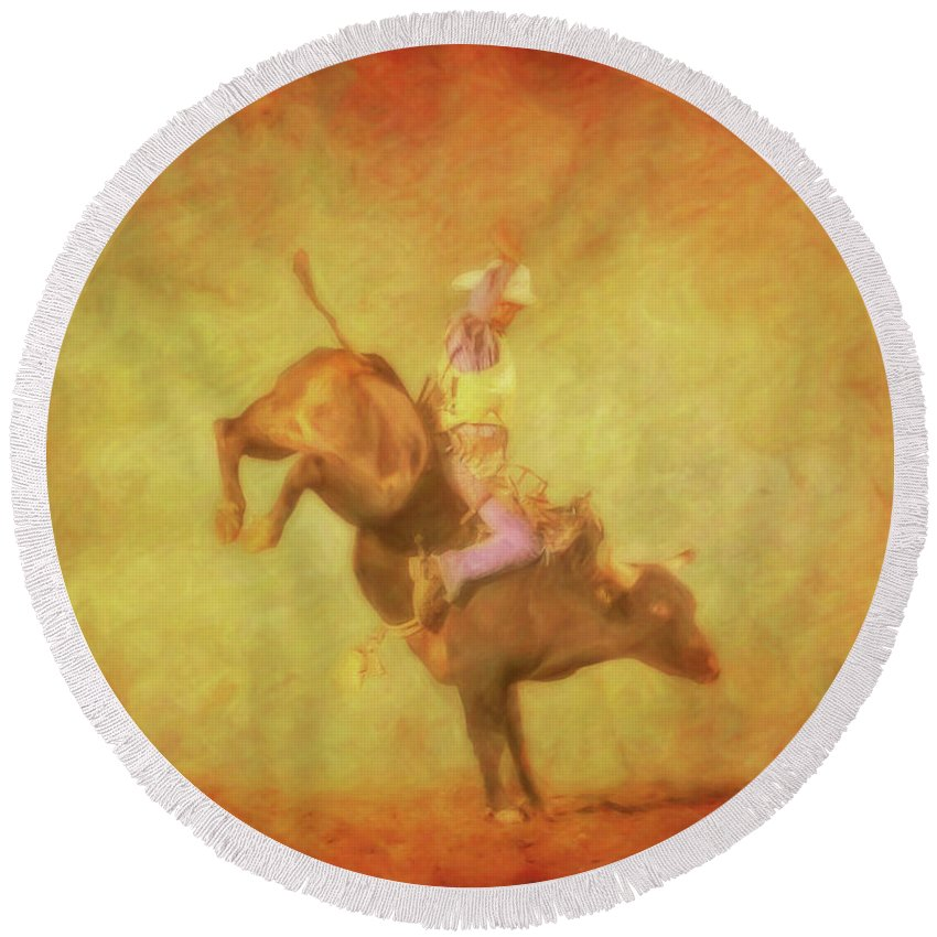 Eight Seconds Rodeo Bull Riding Round Beach Towel featuring the digital art Eight Seconds Rodeo Bull Riding by Randy Steele