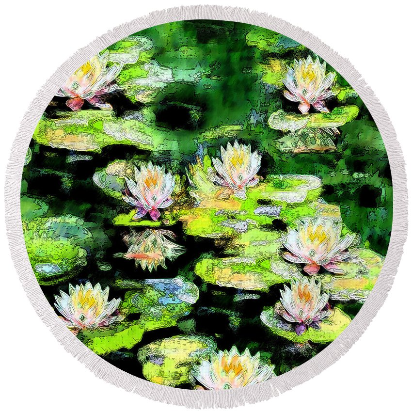 Waterlilies Round Beach Towel featuring the painting Eight #waterlilies by Michele Avanti