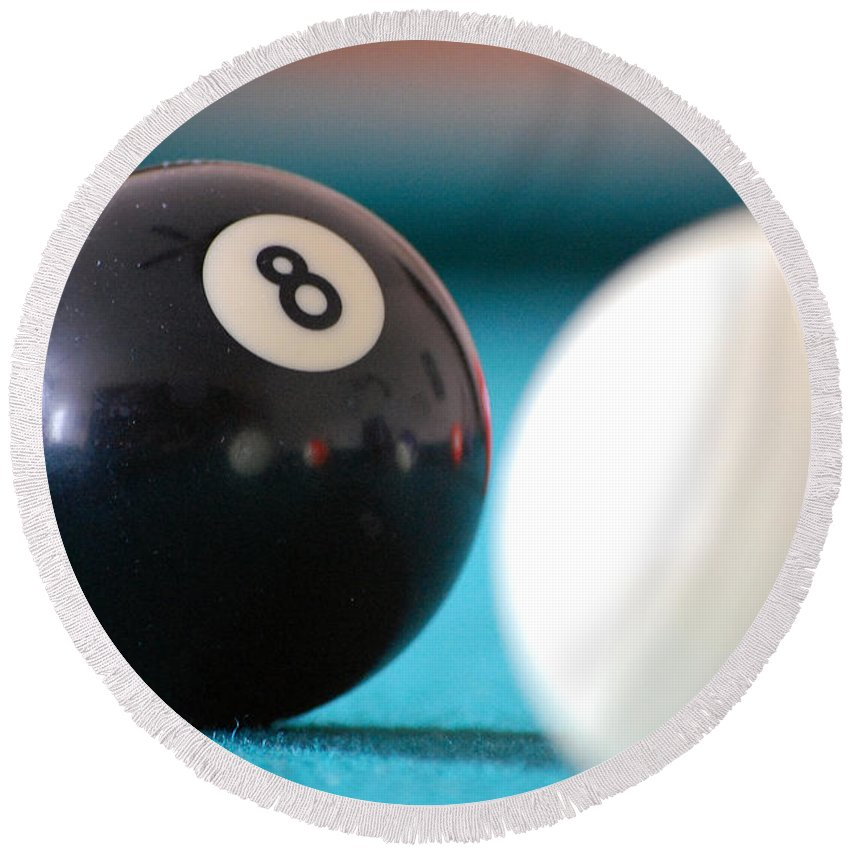 Billiards Round Beach Towel featuring the photograph Eightball by Robert Meanor