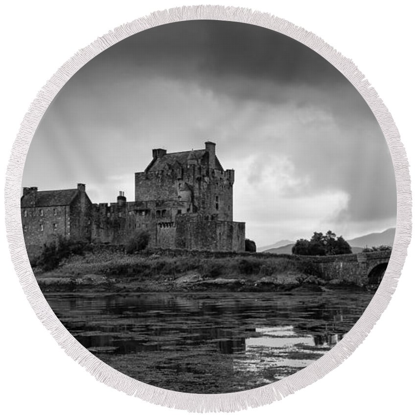 B&w Round Beach Towel featuring the photograph Eilean Donan Castle by Henk Meijer Photography