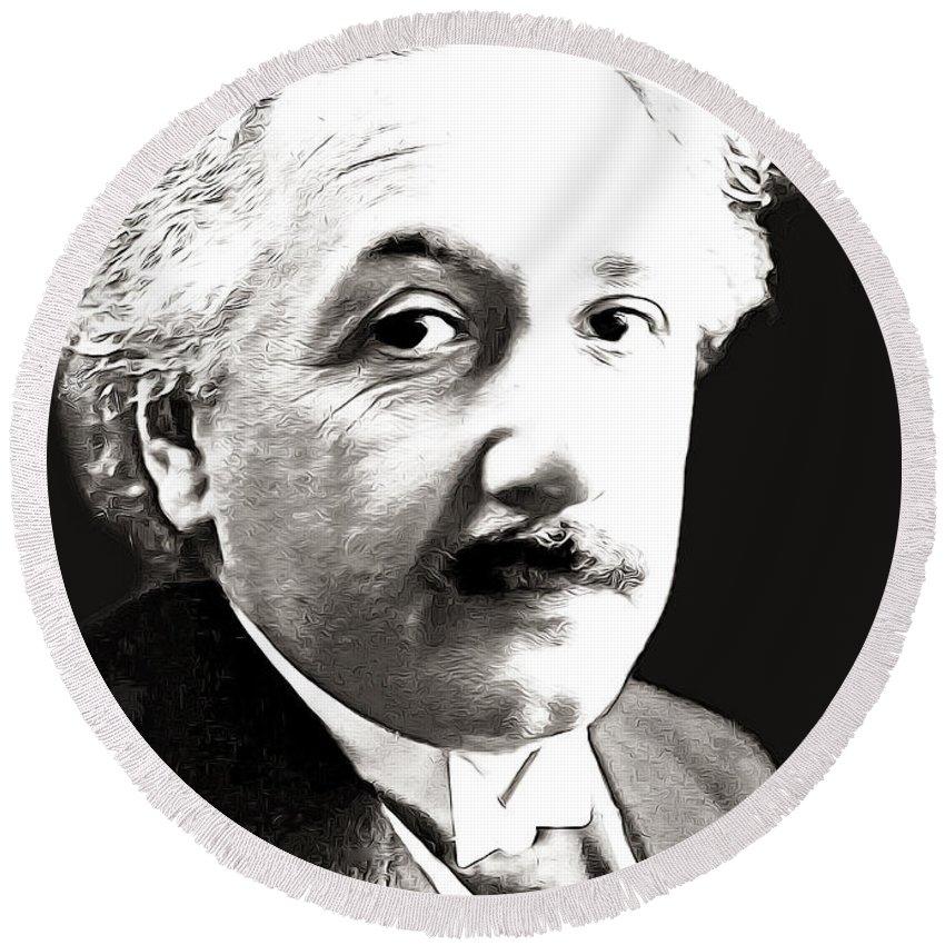Einstein Round Beach Towel featuring the photograph Einstein by Munir Alawi