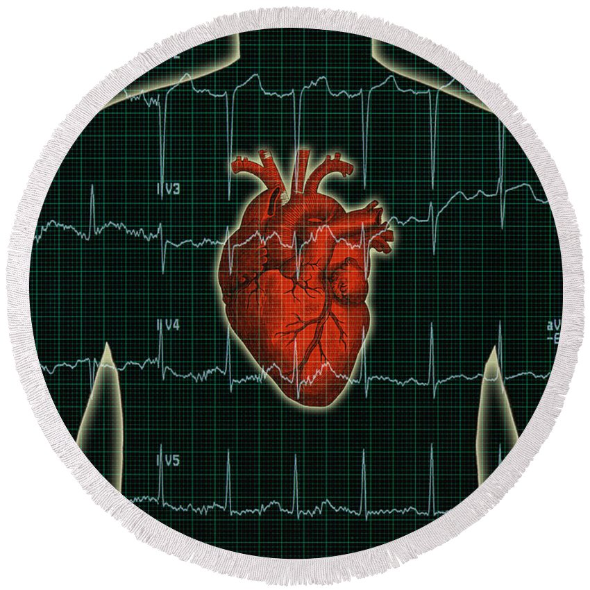 Ekg Round Beach Towel featuring the photograph Ekg And Heart Over Torso by George Mattei