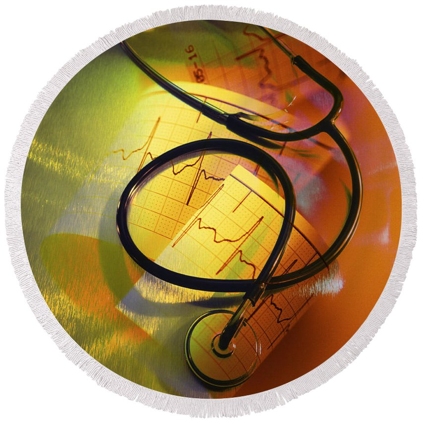 Yellow Round Beach Towel featuring the photograph Ekg Stethoscope Composite by George Mattei