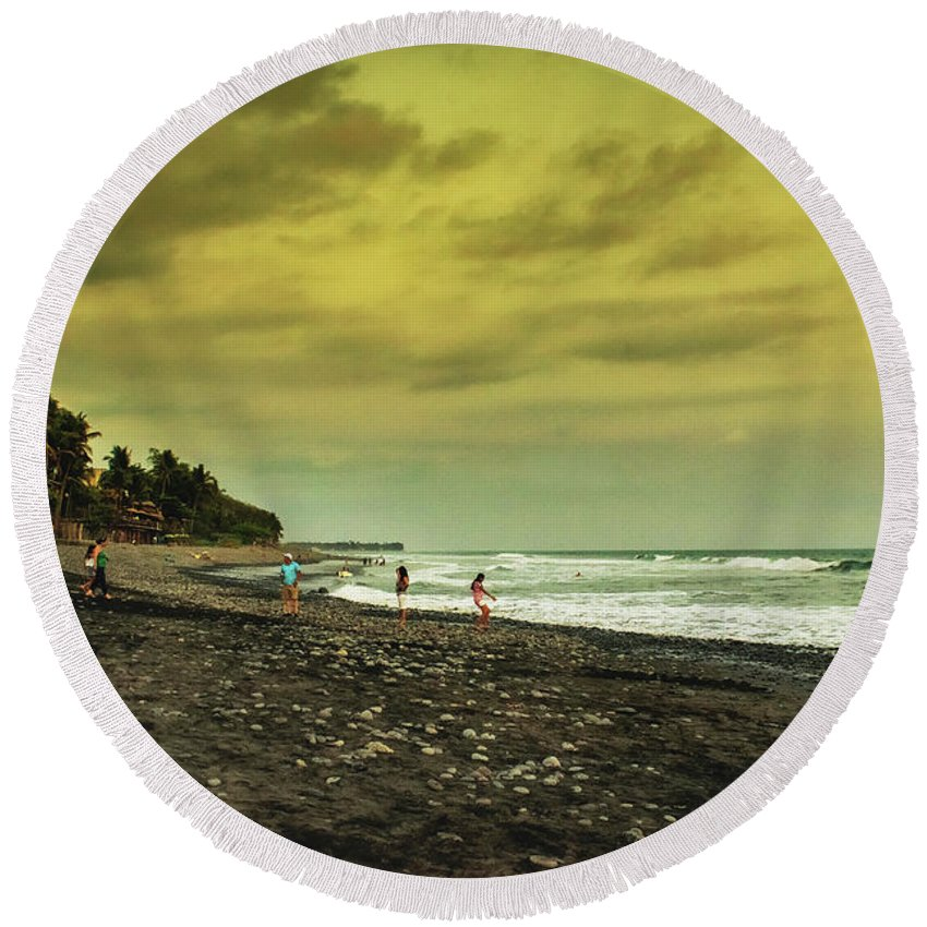 Sunzal Round Beach Towel featuring the photograph El Beach - El Salvador by Totto Ponce