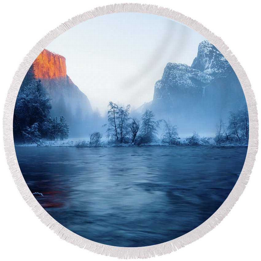 Beautiful Round Beach Towel featuring the photograph El Capitan At Blue Hour by Ozeias Santana