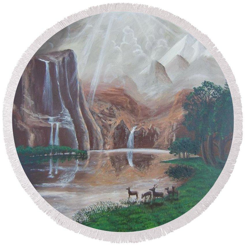 El Capitan Falls Round Beach Towel featuring the painting El Capitan Falls by Philipp Merillat