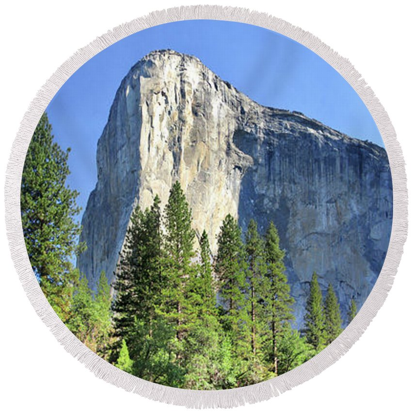 Sierra Round Beach Towel featuring the photograph El Capitan Over The Merced River - Yosemite Valley by Bruce Lemons