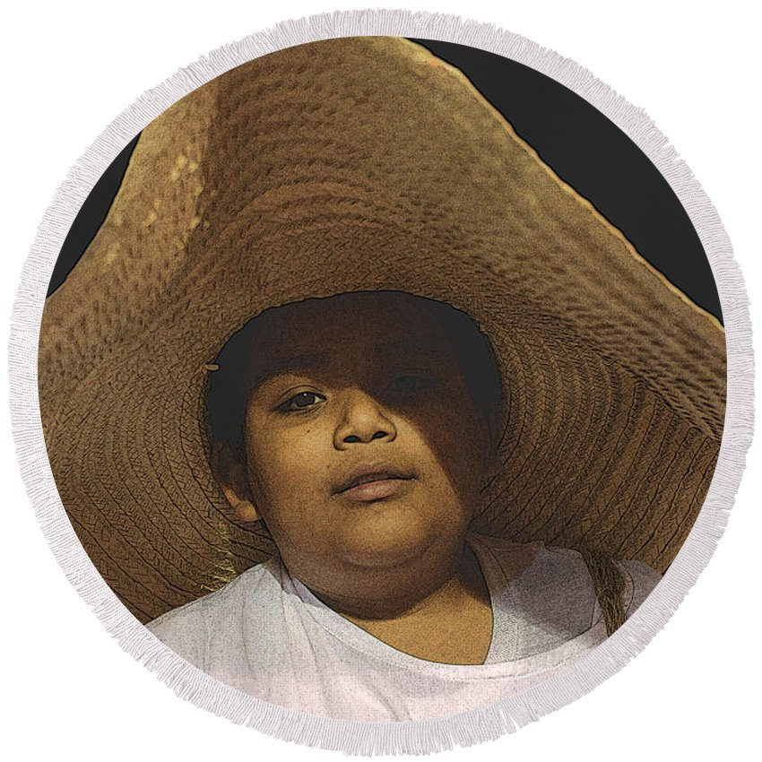 Cipitio Round Beach Towel featuring the photograph El Cipitio by Totto Ponce