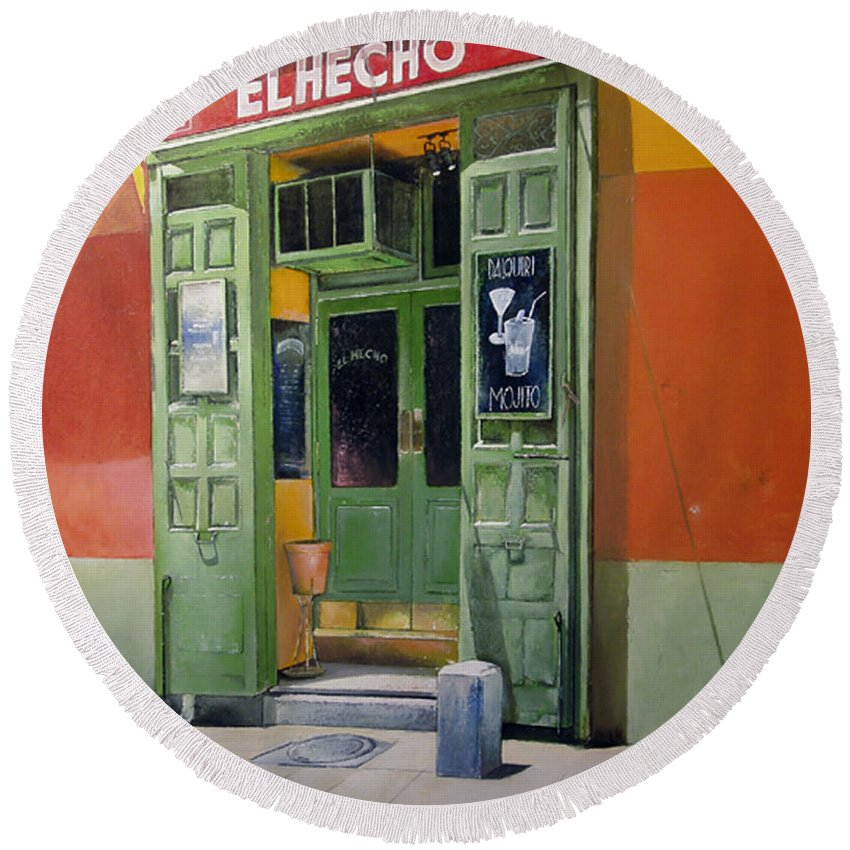 Hecho Round Beach Towel featuring the painting El Hecho Pub by Tomas Castano