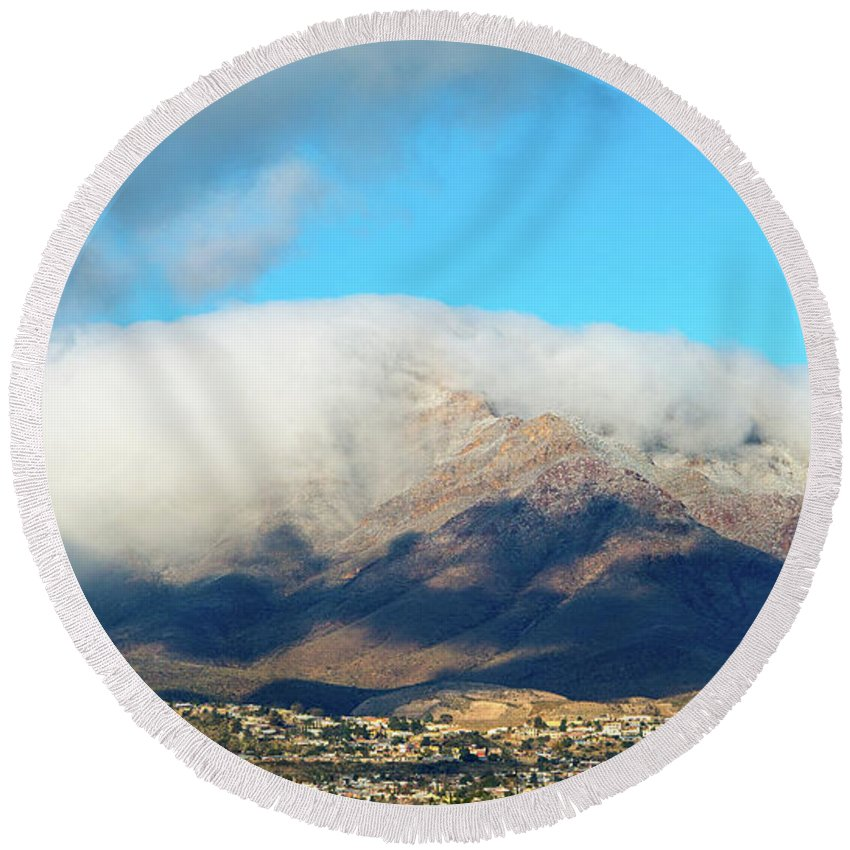 Franklin Mountains Round Beach Towel featuring the photograph El Paso Franklin Mountains And Low Clouds by SR Green