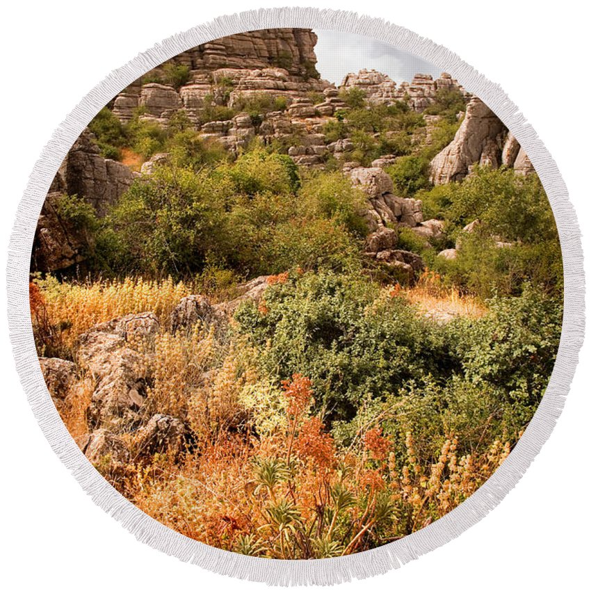 Limestone Round Beach Towel featuring the photograph El Torcal Rock Formations by Mal Bray