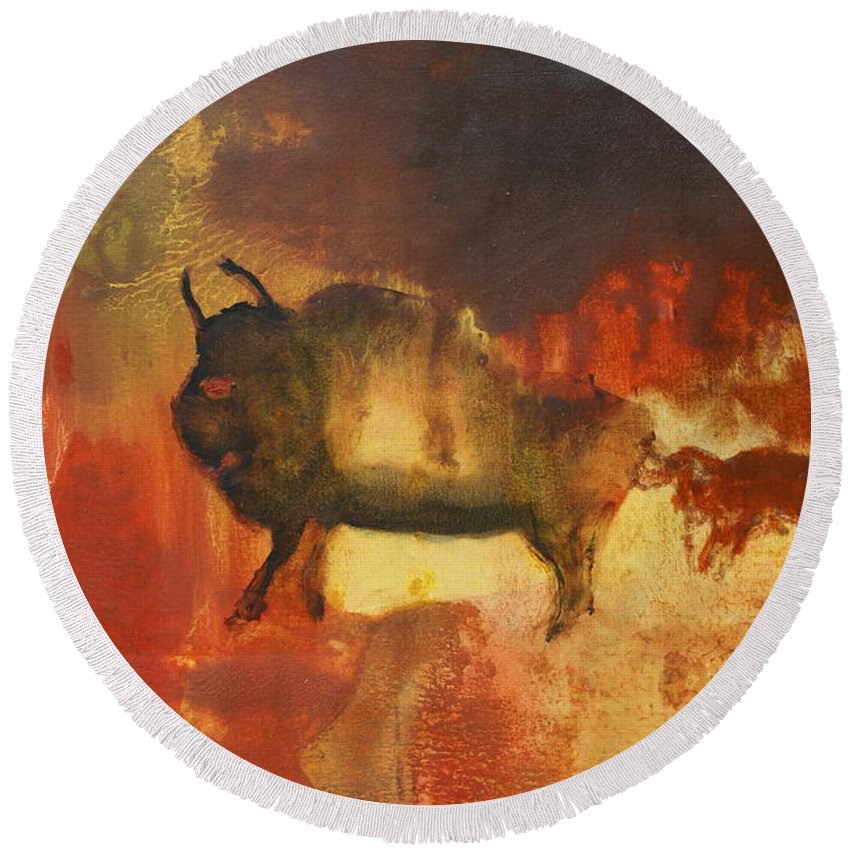 Bull Round Beach Towel featuring the painting El Torro by Geegee W