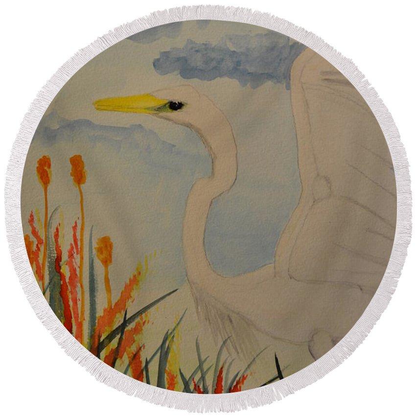 Elana - Egret Round Beach Towel featuring the painting Elana - Egret by Maria Urso