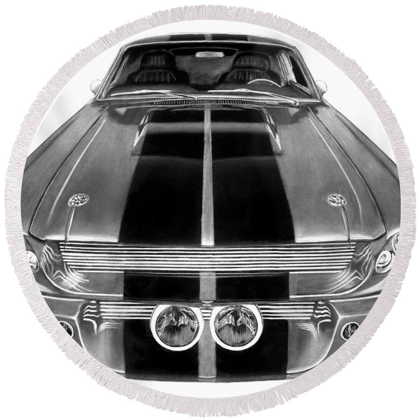 Eleanor Inverted Round Beach Towel featuring the drawing Eleanor Ford Mustang by Peter Piatt