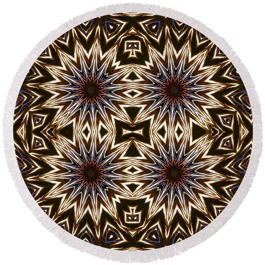 Kaleidoscope Round Beach Towel featuring the photograph Electric Blue Earth Stars by M E Cieplinski