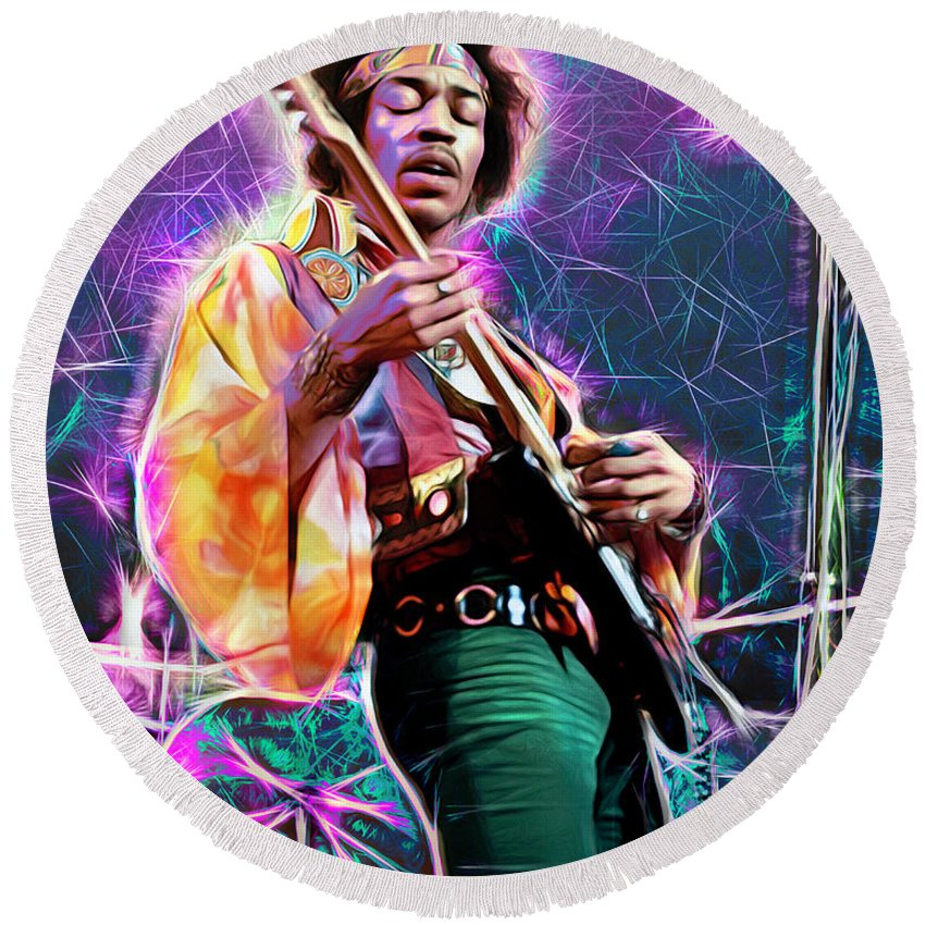 Jimi Hendrix Round Beach Towel featuring the mixed media Electric Ladyland, Jimi Hendrix by Mal Bray