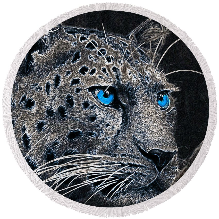 Leopard Round Beach Towel featuring the photograph Electric Leopard by Ericamaxine Price