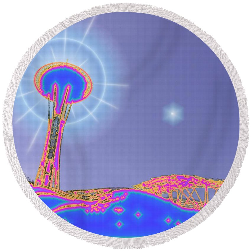 Seattle Round Beach Towel featuring the photograph Electric Needle by Tim Allen