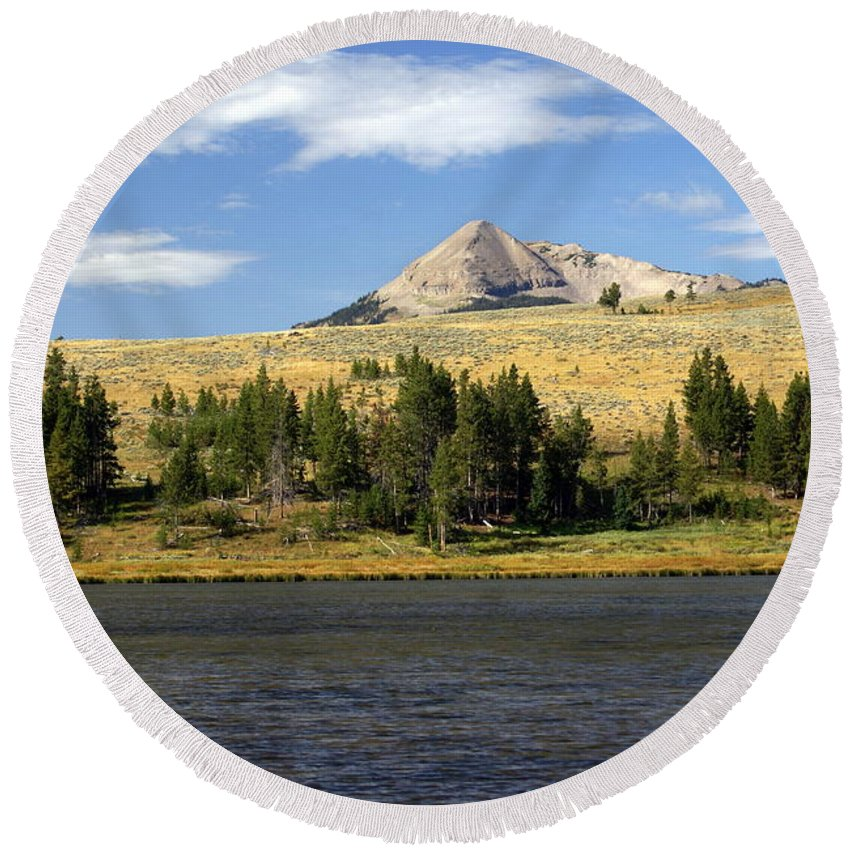 Yellowstone National Park Round Beach Towel featuring the photograph Electric Peak 1 by Marty Koch