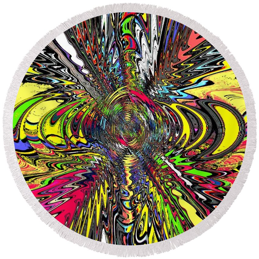 Abstract Round Beach Towel featuring the digital art Electric Ripples by Tim Allen