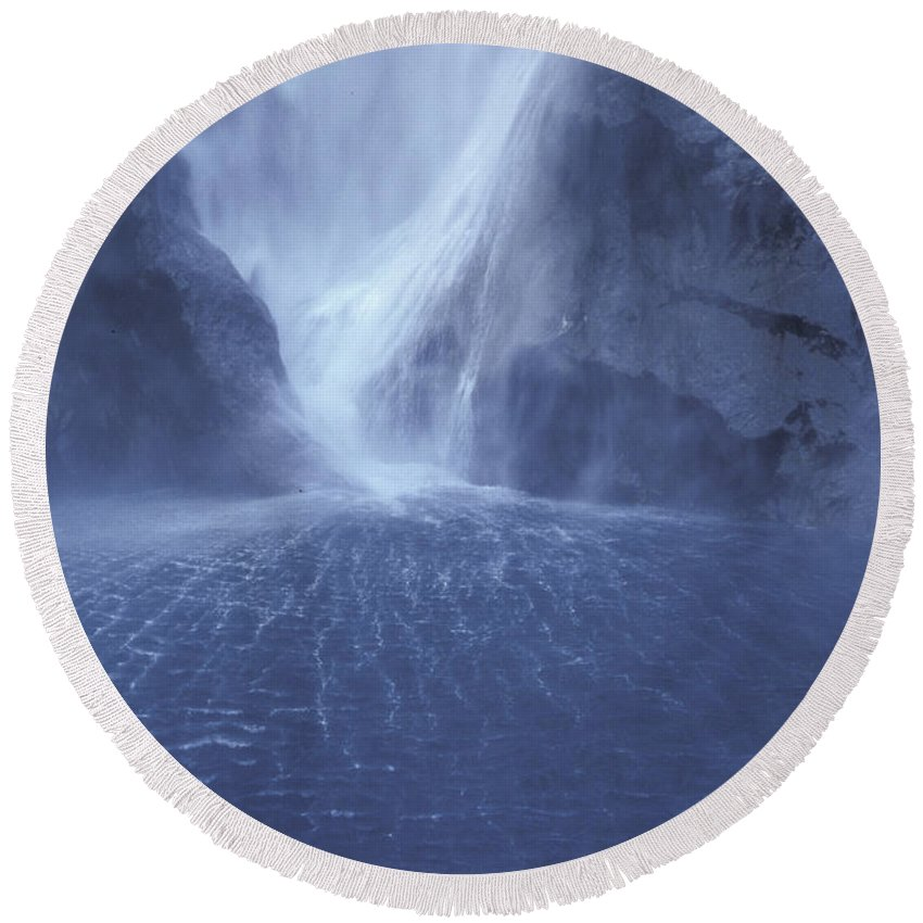 Milford Sound Round Beach Towel featuring the photograph Electric Water - Milford Sound by Sandra Bronstein