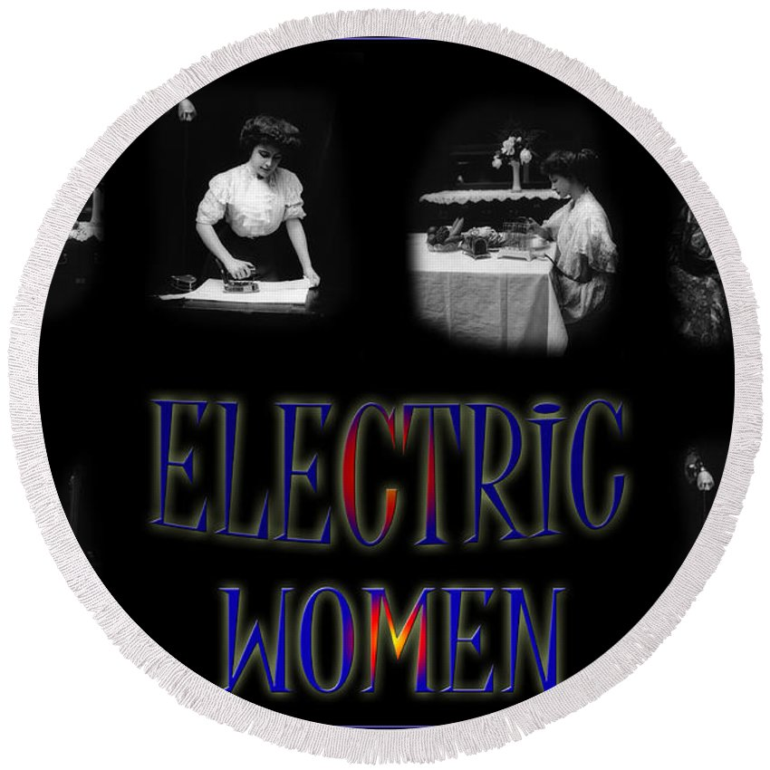 Electricity Round Beach Towel featuring the photograph Electric Women by Andrew Fare